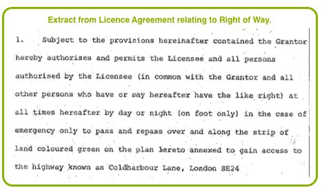 Extract from Licence Agreement relating to Right of Way