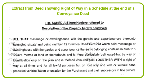 Extract from Deed showing Right of Way in a Schedule in a Conveyance Deeed