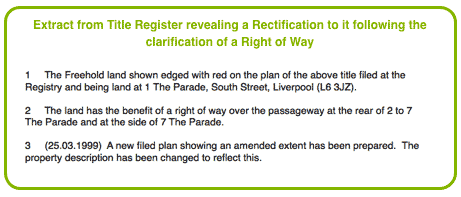Title Register extract showing a Rectification