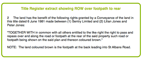Title Register extract showing Right of Way over a footpath to the rear