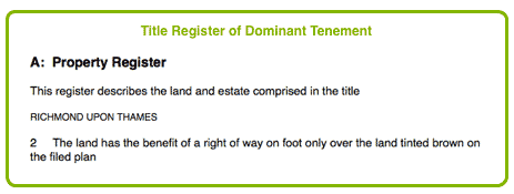 Title Register of Dominant Tenement