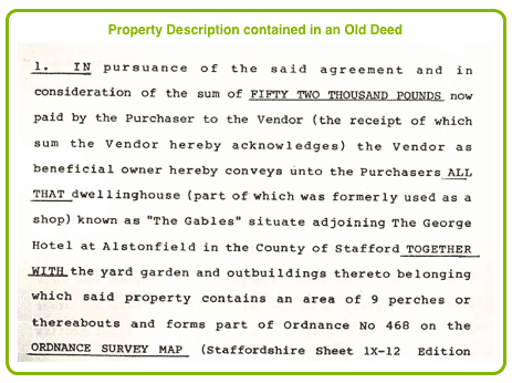 Property Description contained in an Old Deed