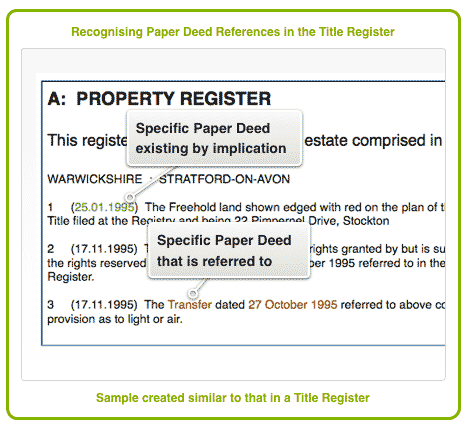Recognising Paper Deed References in the Title Register
