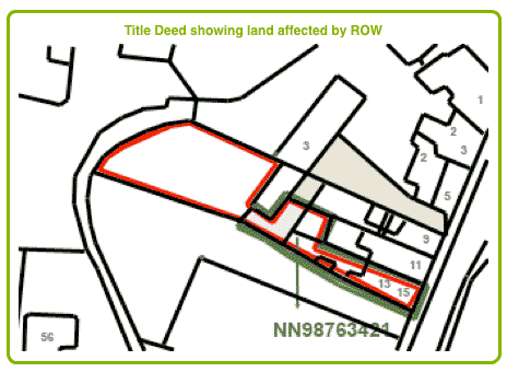 TItle Deed showing land affected by Right of Way