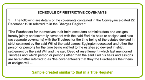 Land Registry Restrictions >> Contents Of The Title Register